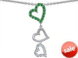 Original Star K™ Dangling Heart with Round Simulated Emerald Pendant
