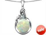 Original Star K™ Loving Mother With Child Family Pendant With Round 10mm Created Opal