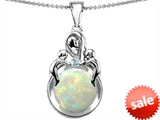 Original Star K™ Large Loving Mother With Children Pendant With Round 10mm Created Opal style: 306422