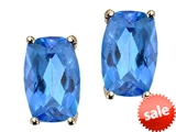 Tommaso Design™ Checkerboard Cushion Cut Genuine Blue Topaz Earrings Studs style: 306428
