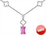 Original Star K™ Emerald Cut Created Pink Sapphire Necklace style: 306429