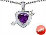 Original Star K™ Heart with Arrow Love Pendant with Genuine Amethyst style: 306430