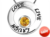 Original Star K™ Live/Love/Laugh Circle of Life Pendant with November Birthstone Round 7mm Genuine Citrine