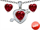 Original Star K™ Created Ruby Heart with Arrow Pendant Box Set with matching earrings