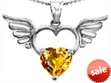 Original Star K™ Wings Of Love Birthstone Pendant with 8mm Heart Shape Genuine Citrine