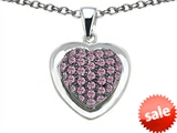 Original Star K™ Heart Shape Love Pendant with Created Pink Sapphire