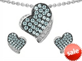 Original Star K™ Simulated Aquamarine Heart Shape Love Pendant With Matching Earrings style: 306443