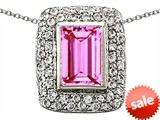 Original Star K™ Emerald Cut Created Pink Sapphire Pendant style: 306444