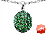 Original Star K™ Oval Puffed Pendant with Simulated Emerald style: 306445