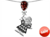 Original Star K™ Girl Holding a Balloon Mother January Birth Month Pear Shape Simulated Garnet Pendant style: 306446