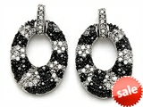 Original Star K™ Round Black and White Cubic Zirconia Oval Shape Earrings