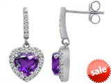 Original Star K™ 6mm Heart Shape Simulated Amethyst Dangling Heart Earrings style: 306449