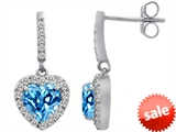 Original Star K™ 6mm Heart Shape Simulated Blue Topaz Dangling Heart Earrings style: 306450