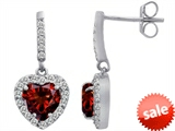 Original Star K™ 6mm Heart Shape Genuine Garnet Dangling Heart Earrings