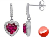 Original Star K™ 6mm Heart Shape Created Ruby Dangling Heart Earrings