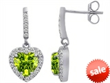 Original Star K™ 6mm Heart Shape Genuine Peridot Dangling Heart Earrings style: 306457