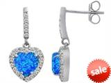 Original Star K™ 6mm Heart Shape Simulated Blue Opal Dangling Heart Earrings style: 306458
