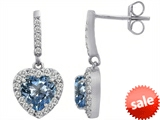 Original Star K™ 6mm Heart Shape Simulated Aquamarine Dangling Heart Earrings style: 306459