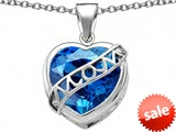 Original Star K™ Large Love Mom Mother Pendant with 15mm Heart Shape Simulated Blue Topaz