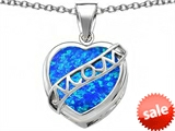 Original Star K™ Large Love Mom Mother Pendant with Heart Shape Simulated Blue Opal style: 306465