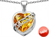 Original Star K™ Large Love Mom Mother Pendant with 15mm Heart Shape Simulated Citrine