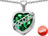 Original Star K™ Large Love Mom Mother Pendant with 15mm Heart Shape Simulated Emerald