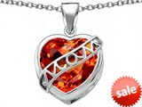 Original Star K™ Large Love Mom Mother Pendant with 15mm Heart Shape Simulated Mexican Orange Fire Opal