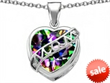 Original Star K™ Large Love Mom Mother Pendant with 15mm Heart Shape Rainbow Mystic Topaz