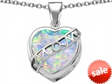 Original Star K™ Large Love Mom Mother Pendant with 15mm Heart Shape Created Opal