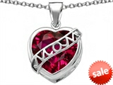 Original Star K™ Large Love Mom Mother Pendant with 15mm Heart Shape Created Ruby