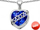 Original Star K™ Large Love Mom Mother Pendant with 15mm Heart Shape Created Sapphire