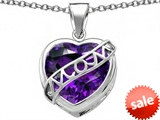 Original Star K™ Large Love Mom Mother Pendant with 15mm Heart Shape Simulated Amethyst