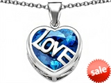 Original Star K™ Large Love Heart Pendant with 15mm Heart Shape Simulated Blue Topaz style: 306478