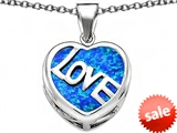 Original Star K™ Large Love Heart Pendant with 15mm Heart Shape Created Blue Opal
