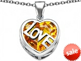 Original Star K™ Large Love Heart Pendant with 15mm Heart Shape Simulated Citrine