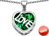 Original Star K™ Large Love Heart Pendant with 15mm Heart Shape Simulated Emerald