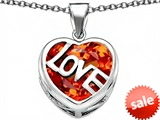 Original Star K™ Large Love Heart Pendant with 15mm Heart Shape Simulated Mexican Orange Fire Opal