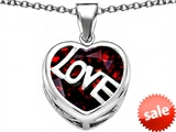 Original Star K™ Large Love Heart Pendant with 15mm Heart Shape Simulated Garnet