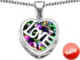 Original Star K™ Large Love Heart Pendant with 15mm Heart Shape Rainbow Mystic Topaz