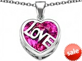 Original Star K™ Large Love Heart Pendant with 15mm Heart Shape Created Pink Sapphire