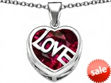 Original Star K™ Large Love Heart Pendant with 15mm Heart Shape Created Ruby