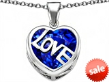 Original Star K™ Large Love Heart Pendant with 15mm Heart Shape Created Sapphire