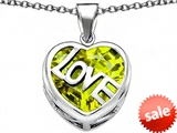 Original Star K™ Large Love Heart Pendant with 15mm Heart Shape Simulated Peridot