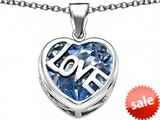 Original Star K™ Large Love Heart Pendant with 15mm Heart Shape Simulated Aquamarine style: 306491