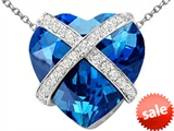 Original Star K™ Large Prisoner of Love Heart Pendant with 15mm Heart Shape Simulated Blue Topaz