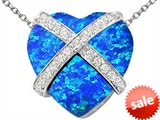 Original Star K™ Large Prisoner of Love Heart Pendant with 15mm Heart Shape Created Blue Opal