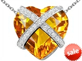 Original Star K™ Large Prisoner of Love Heart Pendant with 15mm Heart Shape Simulated Citrine
