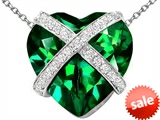 Original Star K™ Large Prisoner of Love Heart Pendant with 15mm Heart Shape Simulated Emerald