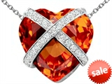 Original Star K™ Large Prisoner of Love Heart Pendant with 15mm Heart Shape Simulated Mexican Orange Fire Opal style: 306496