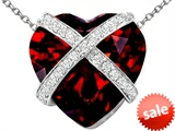 Original Star K™ Large Prisoner of Love Heart Pendant with 15mm Heart Shape Simulated Garnet